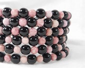 Bead Bracelet, Black and Pink, Memory Wire Bracelet