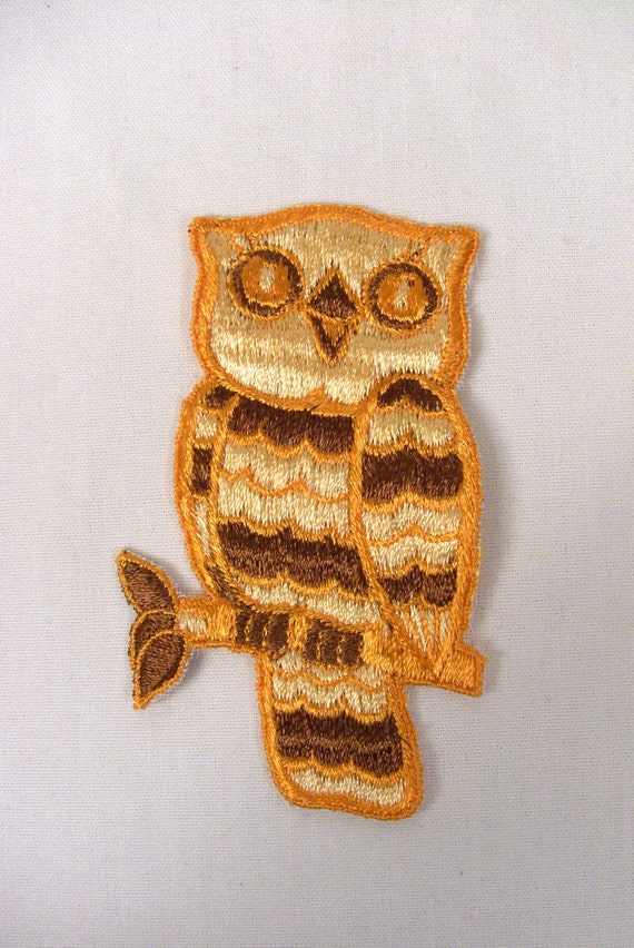 Vintage Owl Embroidered Patches - brown and orange