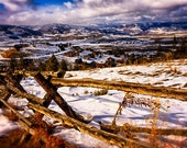 """Colorado Snowy Landscape Photograph Print  """"Granby Valley"""" 8x10 (& Larger) Fine Art Photo Print, Rustic Fence Phototgraphy, Winter Wall Art"""