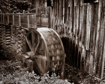 """Black and White Landscape Photograph Print  """"Grist Mill"""" 8x10 (and larger) Fine Art Photo Print"""