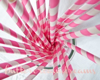 CLEARANCE - Striped Paper Drinking Straws (25) - BUBBLEGUM PINK - Includes Free Printable Straw Flags