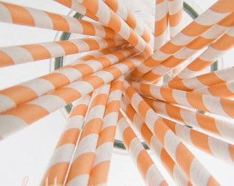 CLEARANCE - Striped Paper Drinking Straws (25) - PEACH / Light Orange - Includes Free Printable Straw Flags