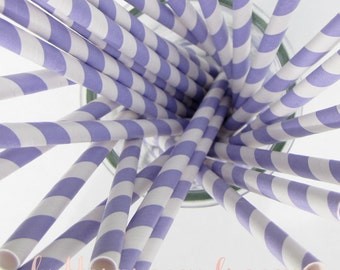 CLEARANCE - Striped Paper Drinking Straws (25) - LAVENDER / Light Purple - Includes Free Printable Straw Flags