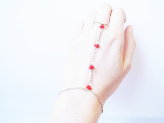 Slave Bracelet with Chain and Red Czech Crystals, Hippie, Boho, Harem