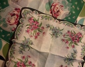 Vintage Hankerchiefs or Napkins, set of 2, 1950's, Gorgeous