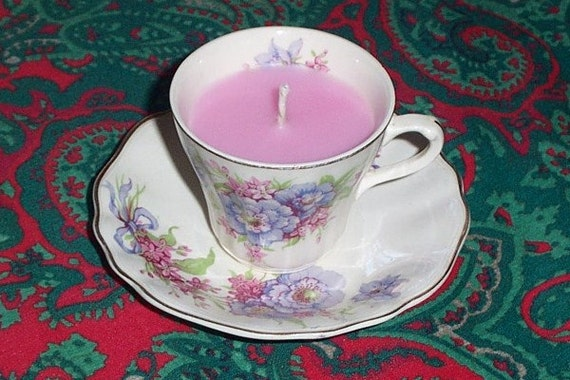 Victorian garden mini tea cup candle