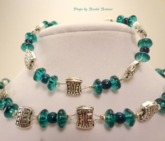 Teal Glass and Silver Choker Jewelry Set