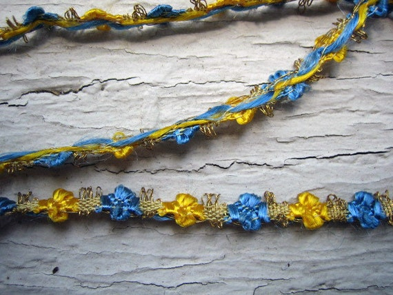 Rare Circa 1920s Vintage Metallic and Floss Flower Trim - 1/4 inch wide -  Listing for 18 inches