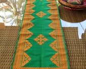 Royal Songket, Green and Orange handwoven silk fabric.