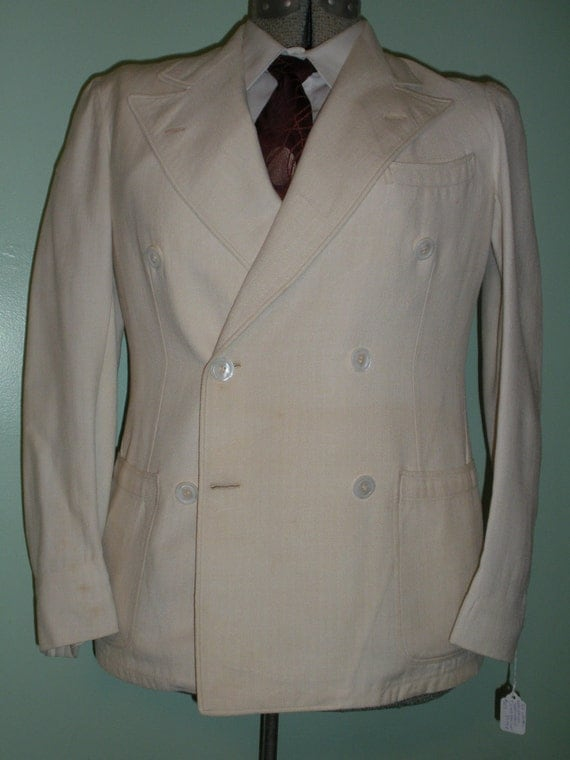 Rare 1930s 30s Cream DB BELTED Back Sports Coat antique jacket Summer Weight