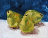 The Three Pears - Still Life Oil Painting 8 x 10