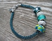 Teal Blue Bracelet in Viking Knit Woven Wire, Blue and Silver Accents