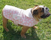 Pink & White Polka Dot Fleece Dog Jacket