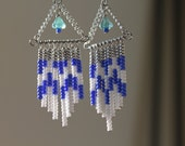 Blue and White Beaded Chevron Pattern Earrings