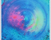 Limited Edition Print on Satin Silver Plated Aluminum Metal, Blue Pink Sea Water
