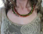 Mixed Stone Necklace with Carnelian, Glass, and Pearly Beads