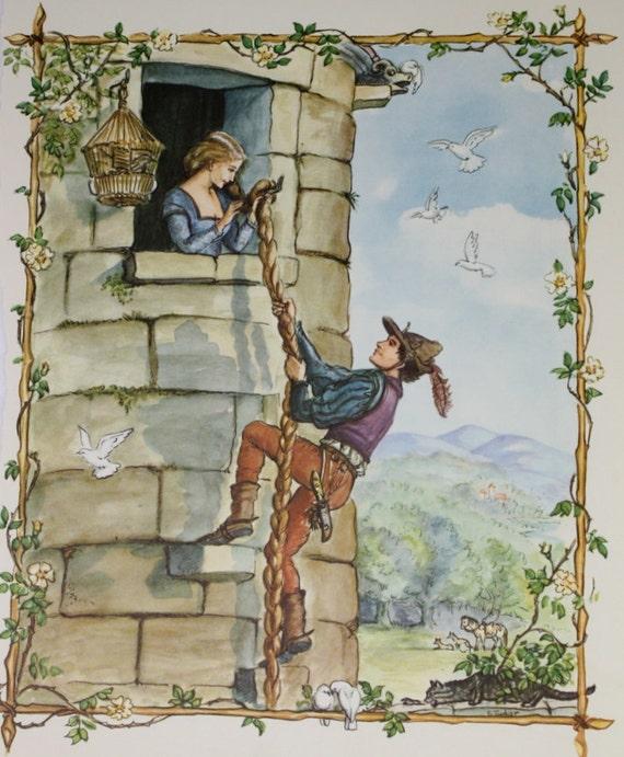 Rapunzel Fairy Tale Illustration - Original 1961 Childrens Nursery Illustration