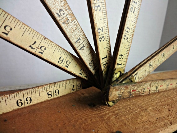 Vintage Lufkin Wood Fold Out Ruler with Brass Joints