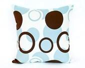 "16"" x 16"" Modern Sky Blue & Brown Circle Pattern Throw Pillow Cover"
