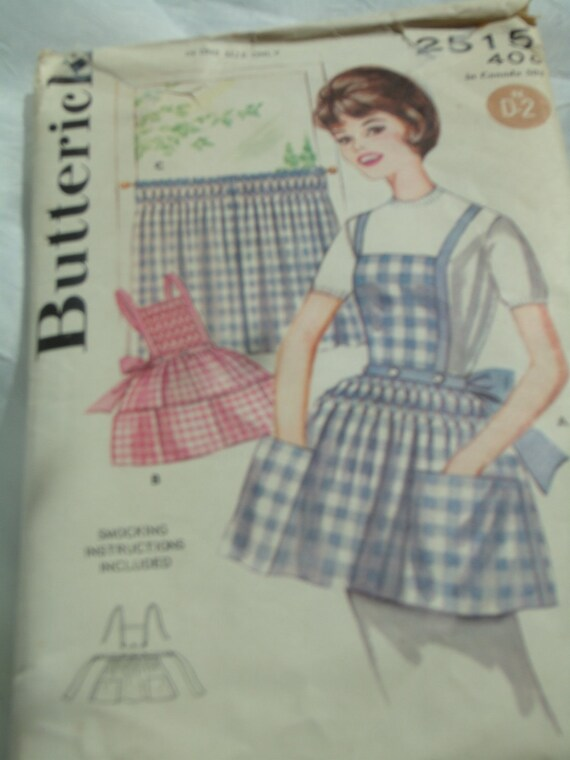 Vintage Butterick 2515 Smocked Apron and Curtains