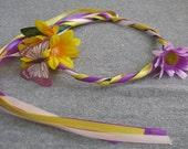Yellow and purple flowered princess fairy halo