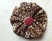 "3"" Fabric YoYo Flower Clip - Cheetah design"