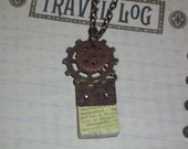 "Steampunk Style Bronze & Copper Watch Gear Cog Victorian Notebook Necklace ""Trepidation"" with Bronze Necklace"