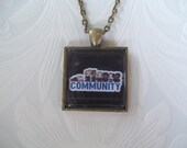 Community Inspired 8-bit Episode Title Bronze Glass Photo Pendant