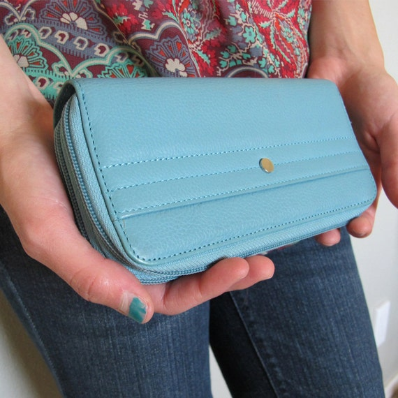 Lovely Blue Retro Genuine Leather Clutch/Wallet