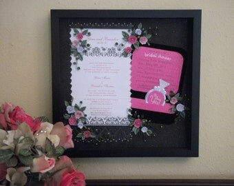 Quilled Wedding Invitation Keepsake Under Glass. Something special and personalized for a gift or reception decor.
