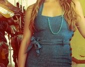 Delicate Light Blue Silk and Gold Fill Statement Chain Necklace