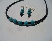Glass Bead Necklace with Matching Earrings - Black and Turquoise