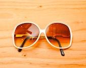 Vintage 1970's White & Gold Sunglasses - Boho Eyewear