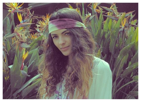 Vintage 1970's Boho Tie-dye Fringe Scarf - Hippie Flower Child Head Band Scarf
