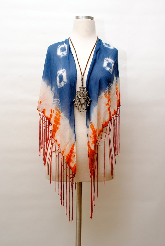 Vintage 1970's Psychedelic Tie Dye & Fringe Hippie Shawl