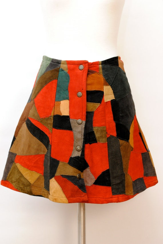Vintage 1970's Hippie Patchwork Suede Mini Skirt - Boho Mini Skirt