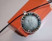 Universe Handmade Original Unique Design Women Modern Pendant Necklace gray, green, pink, teal, pastels, silver accents