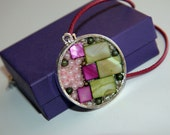 Handmade Original Unique Design Women Modern Pendant Necklace pink, green, gray, silver accents
