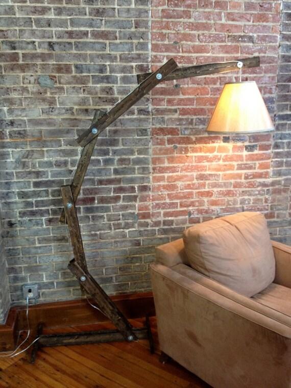 Rustic wooden cantilever floor lamp by awalkthroughthewoods