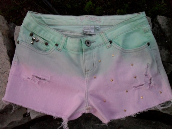 Ombre Dip-Dyed Distressed Studded Sea Foam Green & Light Pink Shorts - Made To Order