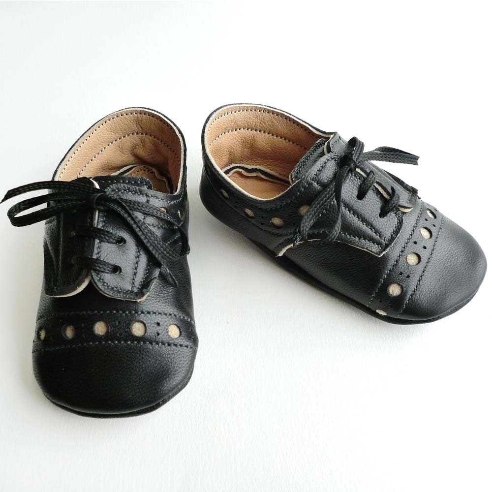 baby boy brogued black leather dress crib shoes by ajalor
