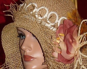 Flapper Hat Cloche 1920 style Natural Straw Charliston Personalized Headdress   Millinery ArtWork