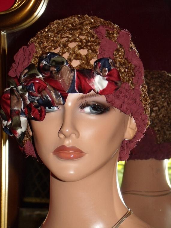 Flapper Hat Cloche 1920 style Personalized small Beret  Headdress  Crochet  Velvet Exclusive textile  Millinery ArtWork