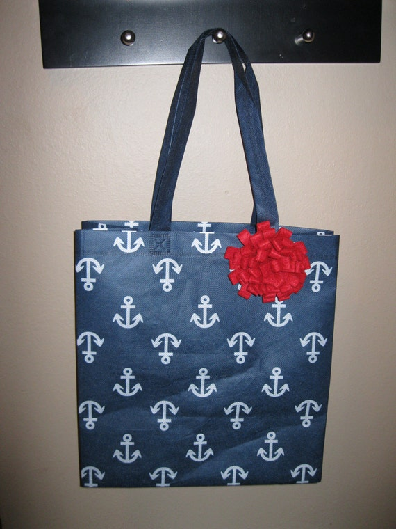 Navy and White Reusable Shopping Tote with Red Felt Mum Accent