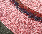 "34"" Rag Rug, Crochet - Red & White Mix with Red, Blue Stripe"
