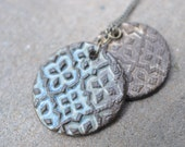 Layered Pendants Necklace - Slate Blue & Cream Geometric Patterns