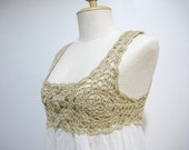 Summer Natural Off white Hand Crochet Cotton Dress