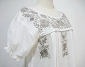 Mexican Hand Embroidered Puff Sleeves Off White Dress Tunic