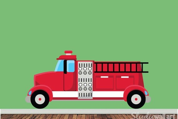 REUSABLE Firetruck Wall Decal - Childrens Wall Decal - EXTRA LARGE