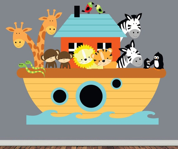 Noahs Ark Wall Decal - Childrens REUSABLE Fabric Wall Decal - EXTRA LARGE
